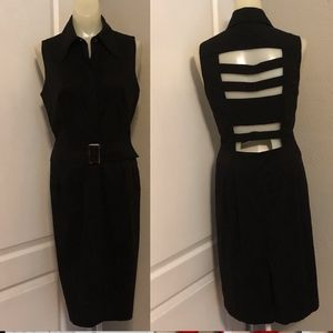 Finley Black Sleeveless Fitted Belted Shirt Dress